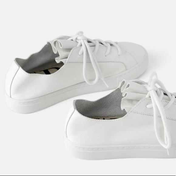 Zara Shoes | Euc White Leather Sneakers